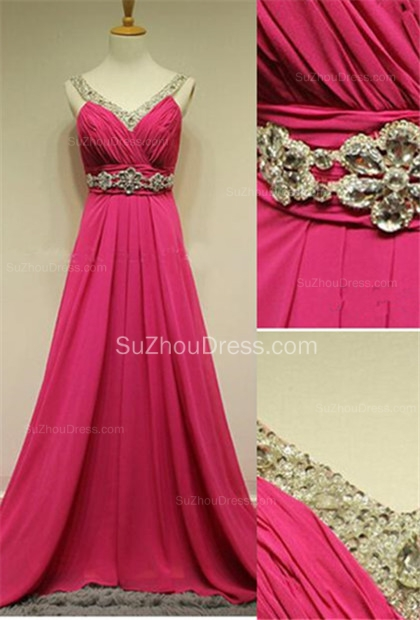 Sequins Chiffon A-Line Evening Dresses Ruffles Crystal  Prom Gowns