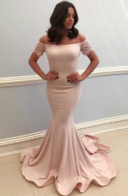 Baby Pink Lace Bowknot Mermaid Prom Dresses | Straps Short Sleeve Open Back Formal Evening Dress