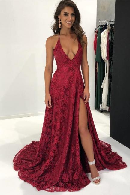Sexy Burgundy Lace Formal Evening Dress Backless | Side Slit Halter Sleeveless   Prom Dress FB0387