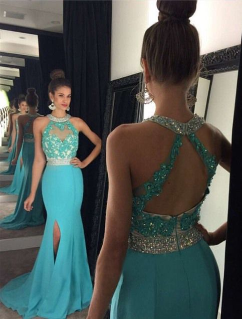 Gorgeous Mermaid Crystal  Evening Gown Halter Side Split Prom Dress
