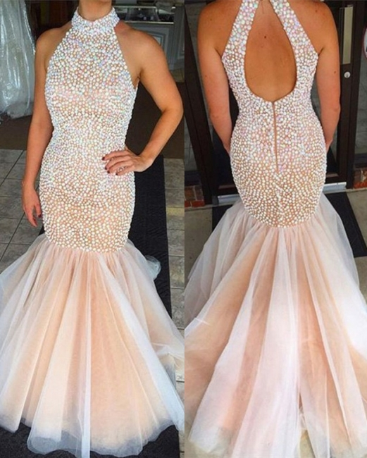 Beaded Crystals High Neck Mermaid Prom Dress  Open Back Sleeveless Evening Gowns BA2615