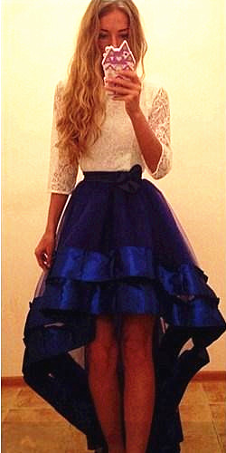Hi-lo Lovely Organza  Popular Prom Dresses with Lace 3/4 Sleeve Cute Evening Dresses