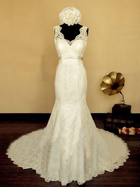 Elegant V-neck Lace Wedding Dress Mermaid Long Train Bridal Gowns with Beading Sash