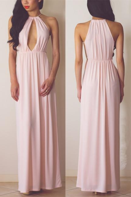 Halter Pink Chiffon Long Summer Dress Sexy Popular  Simple Evening Dress for Women