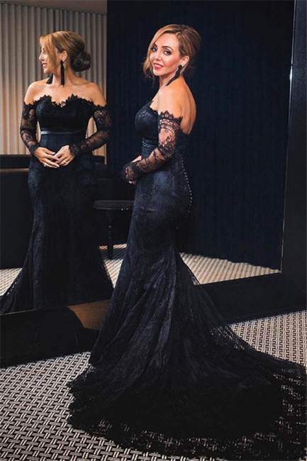 Black Lace Off-the-Shoulder Prom Dresses  Mermaid Long Sleeves Evening Gowns with Buttons