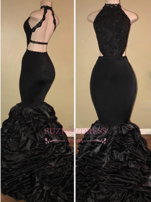 Black Sexy High-Neck Mermaid Prom Dresses  Halter Evening Dresses BA7775