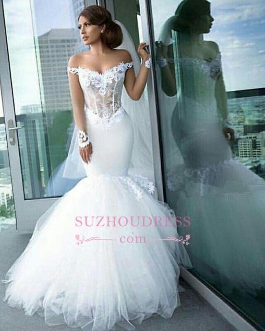 Mermaid Tulle Elegant Appliques Off-the-Shoulder Long-Sleeves Wedding Dress BA4387