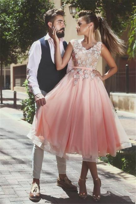 Elegant A-line V-Neck Prom Dresses  3D-Flowers Sleeveless Evening Dresses