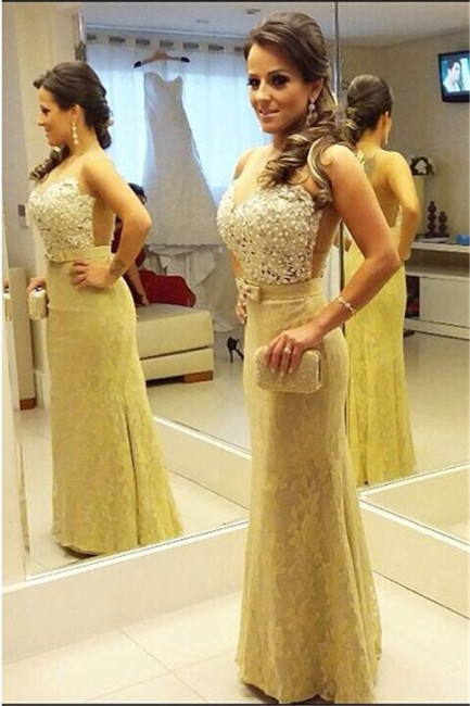 Beading Lace Floor Length Prom Dress New Arrival Custom Made  Evening Gown