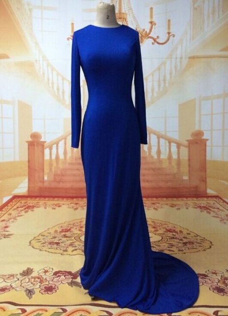Sexy Prom Dresses Long Sleeve Jewel Elegant Sweep Train Cross Back Blue Satin Evening Gowns