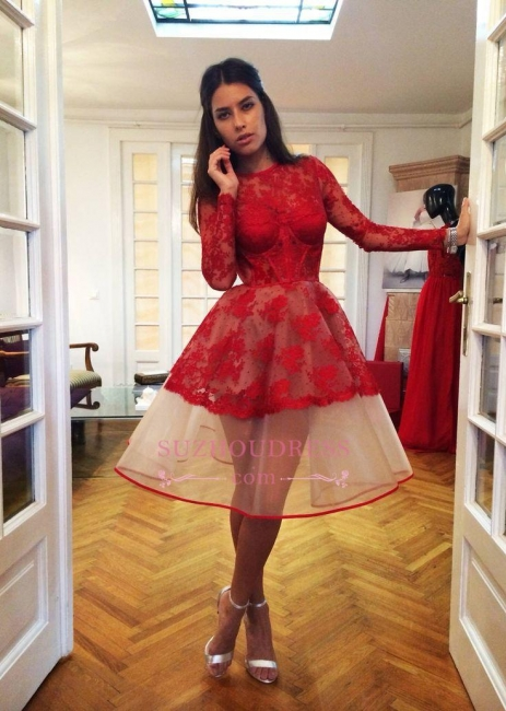 Red Long Sleeve Popular  Appliques Charming Lace Sheer Homecoming Dresses BA7239