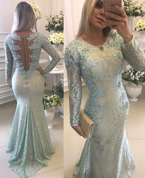 Elegant Lace Long Sleeves Prom Dresses Mermaid Buttons Evening Gowns BA8039