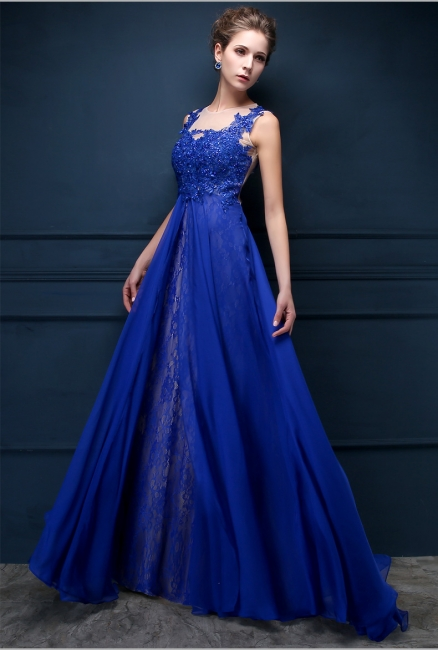 Royal Blue Lace Chiffon Popular  Prom Dresses Appliques Elegant  Long Evening Dresses CJ0154
