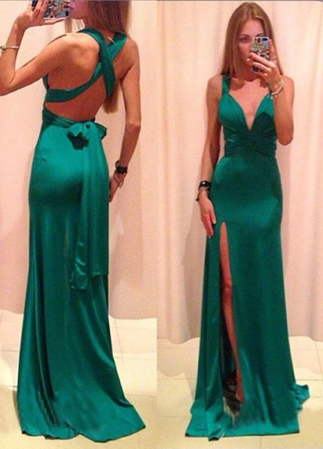 Jade V-Neck Gorgeous Prom Gowns  Criss-Cross Side Slit Evening Dresses with Bowknot