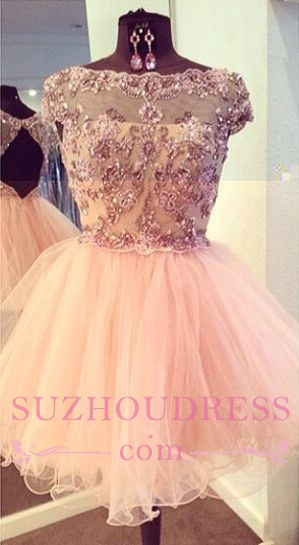 Luxury Bateau-Neck Beaded Capped-Sleeves Puffy Homecoming Dresses