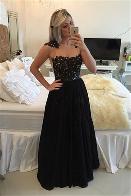 Gorgeous Black Chiffon Beading  Prom Dress Lace Floor Length Evening Gown