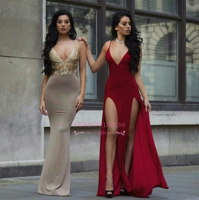 Sexy Burgundy V-Neck Prom Dresses | A-Line Evening Dresses