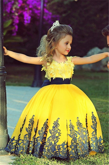 Little Princess Yellow Ball Gown Girls Pageant Dress Cute Flower Girl Dress with Black Lace MH006