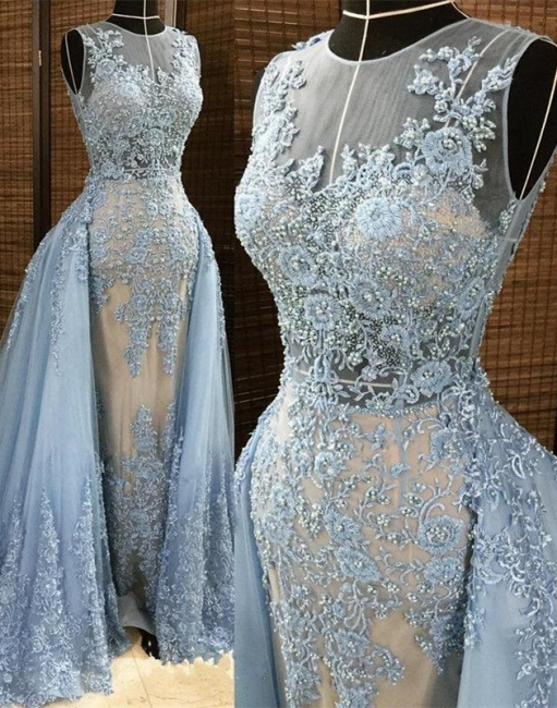 Affordable Jewel Sleleveless Lace Mermaid Prom Dress Appliques Beading Party Dresses with Overskirt