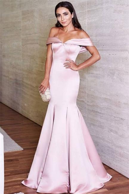 Off The Shoulder Mermaid Pink Formal Evening Dresses  Elegant Satin Prom Dress