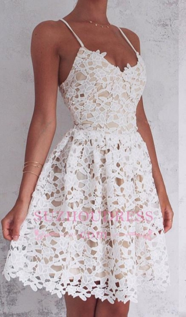 Sleeveless Spaghetti-Strap Lace Mini Modest Lace-up Homecoming Dress BA4677
