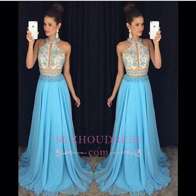 High Neck Sweep Train Chiffon Blue Prom Dress  Halter Newest Sleeveless Sexy Evening Dress