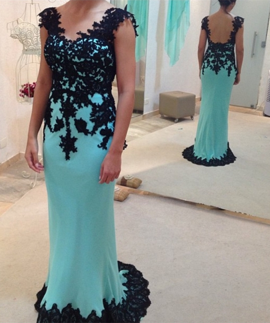 New Arrival Black Lace Applique Evening Dress Open Back Sweep Train Prom Dress
