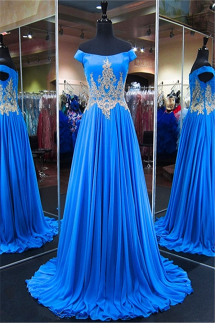 Royal Blue Off-the-Shoulder A-line Prom Dresses  Appliques Lace-Up Evening Gowns with Beadings