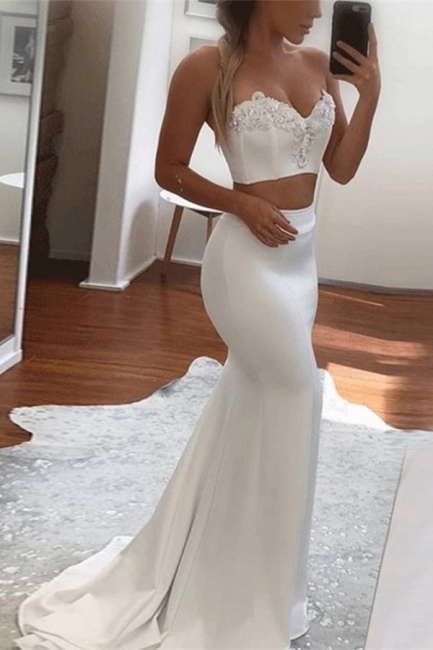 Sexy Two Pieces Sweetheart Evening Dresses  | Mermaid Appliques Simple Formal Dress