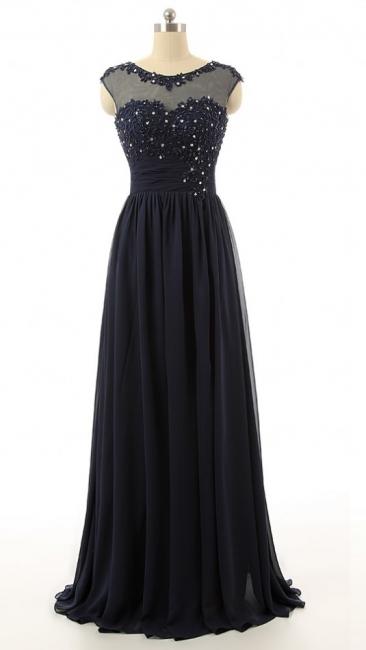 Elegant Black Chiffon Long Prom Dress with Beadings A-Line Ruffles Custom Made Dresses for Women