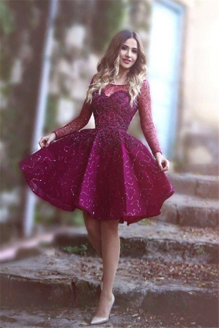 Long Sleeve Sparkly Sequins Bateau Evening Dresses  Short Party Gowns BA1772