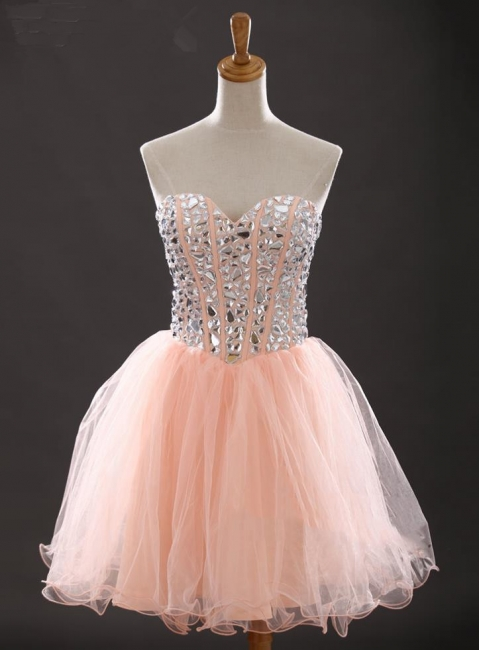 Crystal Sweetheart Pink Mini Homecoming Dress with Rhinestones Latest Organza Lace-Up Short Cocktail Dress