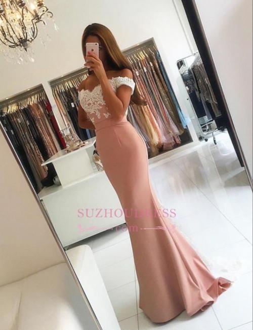 Lace-Appliques Off-the-shoulder Modern Mermaid Long Prom Dress BA4464