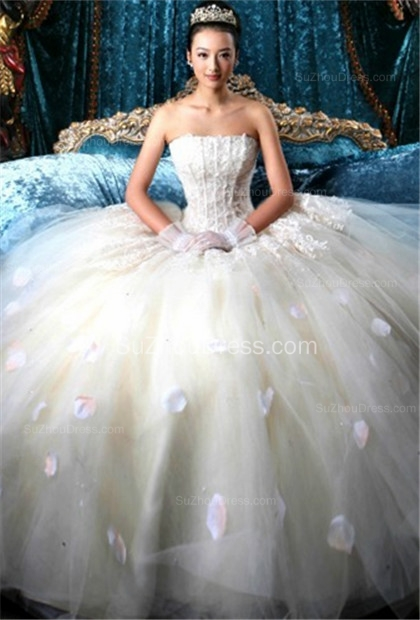 Wedding Dresses Strapless Sleeveless Ball Gown Tulle Flower Appliques White  Bridal Gowns