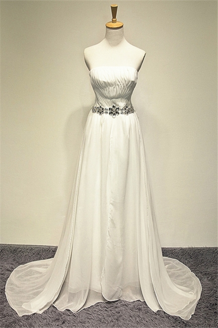 Zipper Whilte Chiffon Long Strapless Bridal Dresses A-line Ruffle Crystal Sweep Train Formal Wedding Dress Under 200