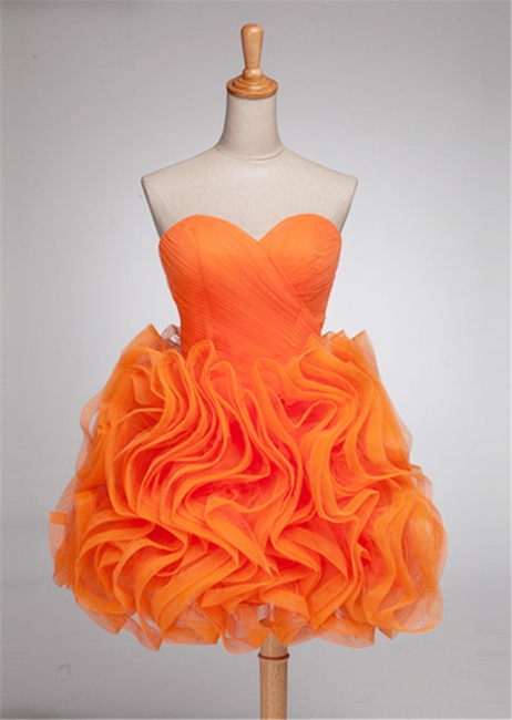 Elegant Orange Sweetheart Mini Cocktail Dress Latest Organza Plus Size Short Homecoming Dresses