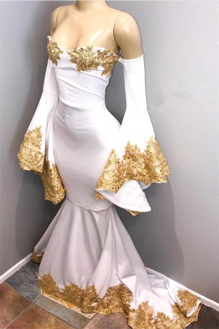Sweetheart Mermaid Prom Dresses | Long Sleeves Appliques Evening Dresses mq0