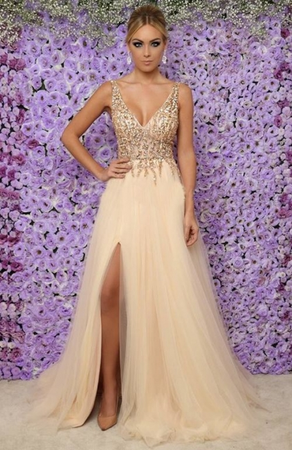 Affordable V-Neck Sleeveless Long Prom Dress Sexy Tulle Side Slit Formal Dresses with Crystals