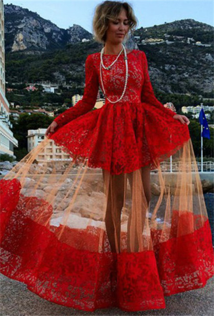 Red Prom Dresses Sheer Lace Long Sleeves Bateau Elegant Evening Gowns
