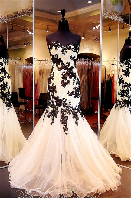Sexy Mermaid Black Lace Evening Dresses Organza Sweetheart  Prom Gowns CE064