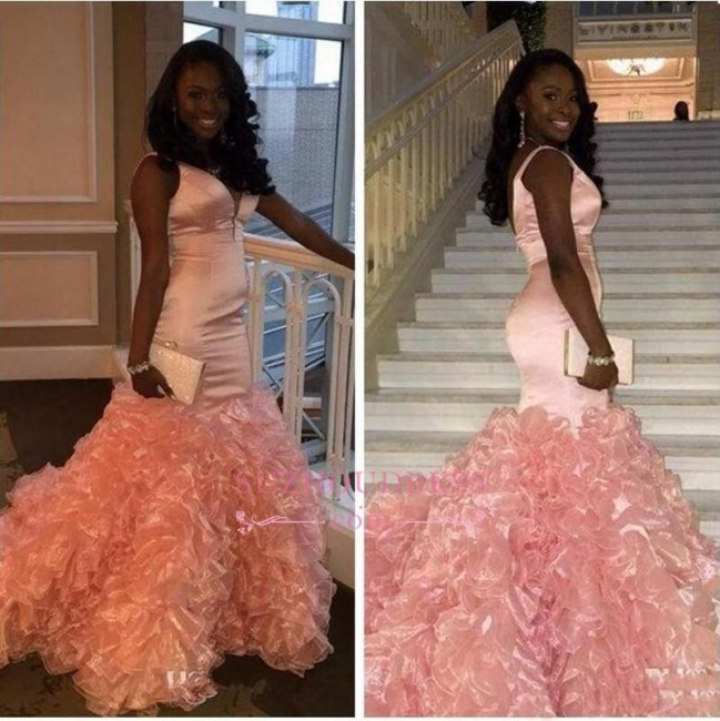V-neck Pink Ruffles Sexy Evening Gown Sleeveless Mermaid Prom Dress