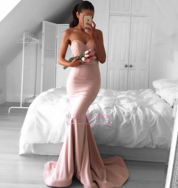 Sweetheart Mermaid Lace Evening Dress  Newest Sleeveless Sweep Train Prom Dress AN0