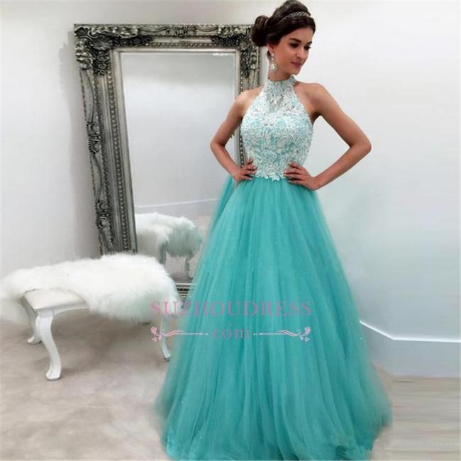 Lace Tulle Sleeveless High-Neck A-line Elegant Evening Dress BA4825
