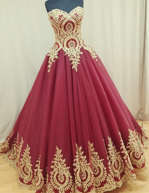Sweetheart Burgundy Long Evening Dresses Gold Lace Appliques Formal Dresses  BA4661