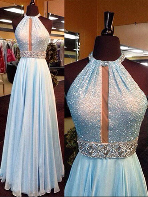 New Arrival Light Blue Sequin Long Prom Dress Chiffon Halter Crystals Belt Evening Gowns