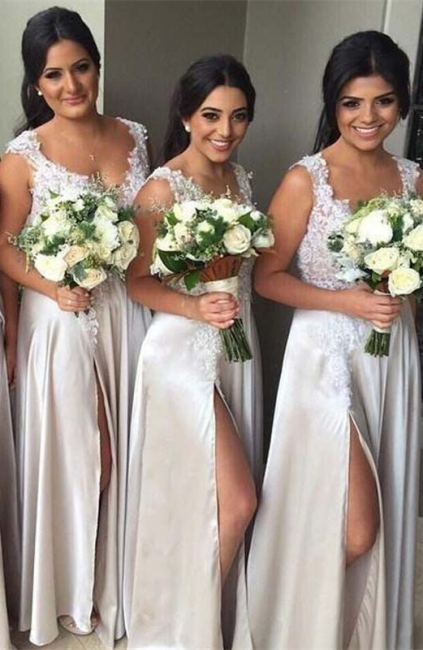 Elegant Lace Bridesmaid Dress  Stretch Satin Split  Maid of Honor Dresses BA3805