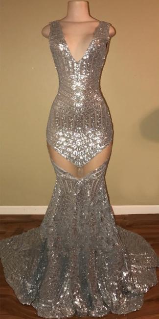 Shiny Silver Sequins Sexy Prom Dresses | Sleeveless   Evening Dress