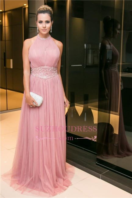 Candy-Pink Open-Back Tulle Sleeveless Long Halter Beaded Evening Dress