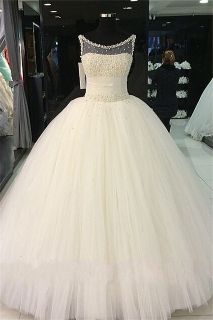 Puffy Tulle  Wedding Ball Gowns Beading Pearls Bridal Gown