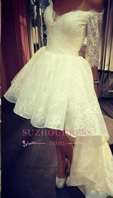 A-Line Lace Sleeves Off-the-Shoulder Elegant Hi-lo Prom Dress